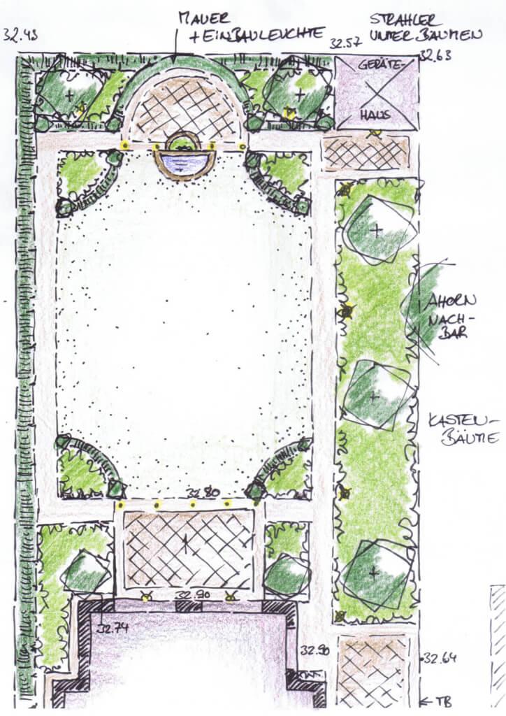 Vorentwurf des hinteren Gartenteils vollbild