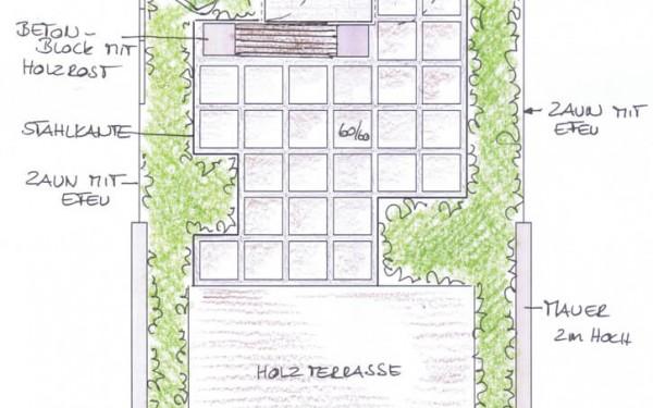 reihenhausgarten mit gartenhaus | irene alberts, Gartenarbeit ideen