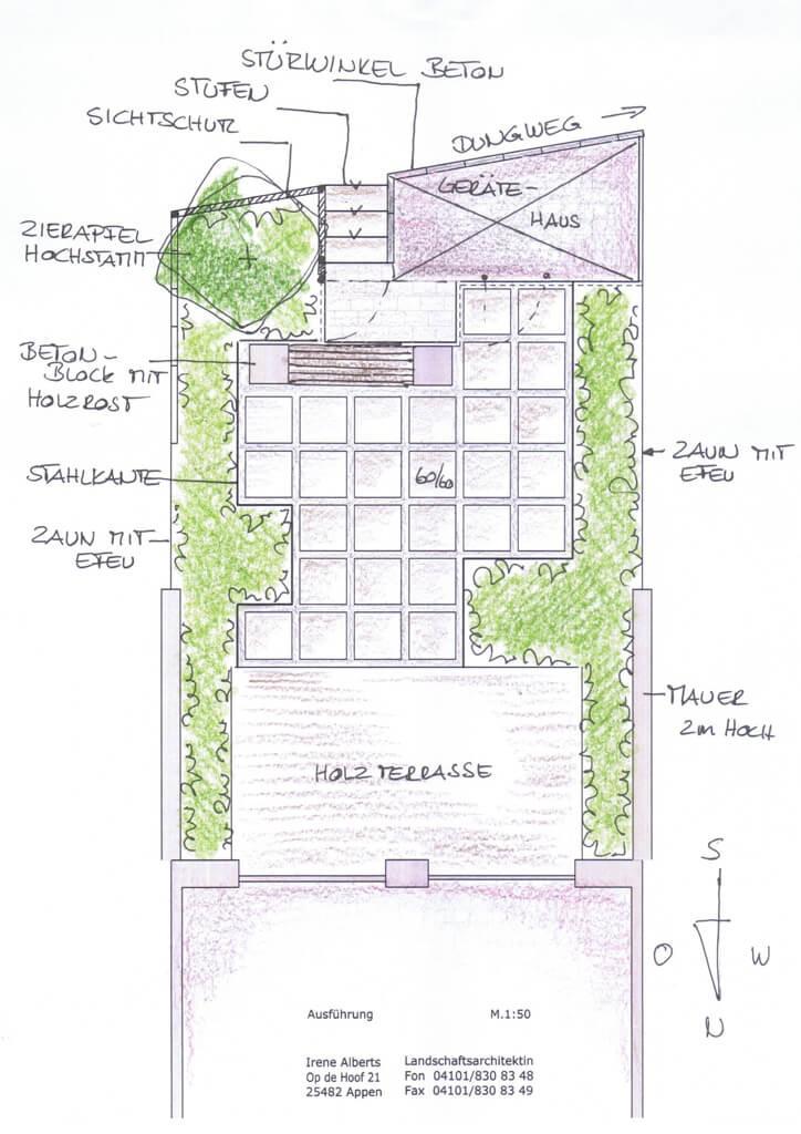 reihenhausgarten mit gartenhaus   irene alberts, Garten ideen gestaltung