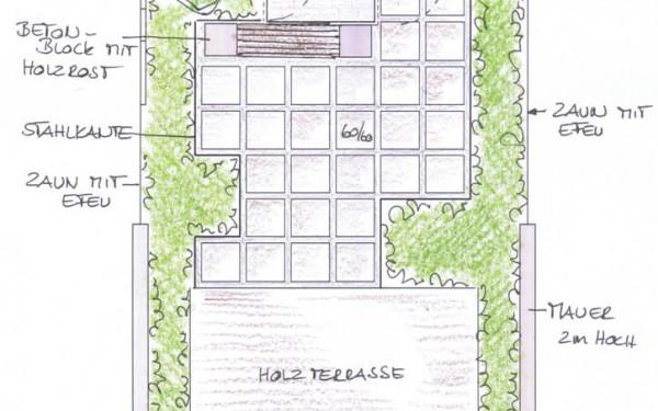 Reihenhausgarten mit Gartenhaus 3